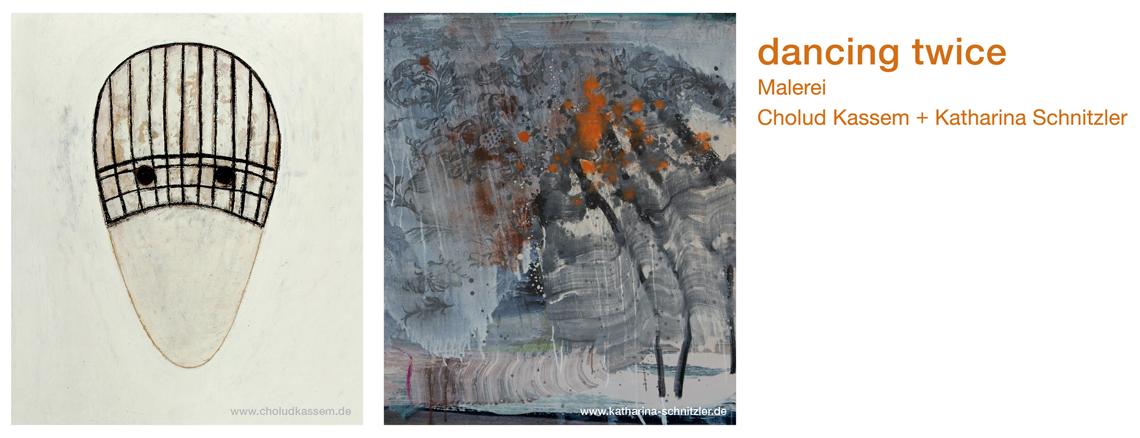 Einladungskarte mit Arbeit von Cholud Kassem und Katharina Schnitzler